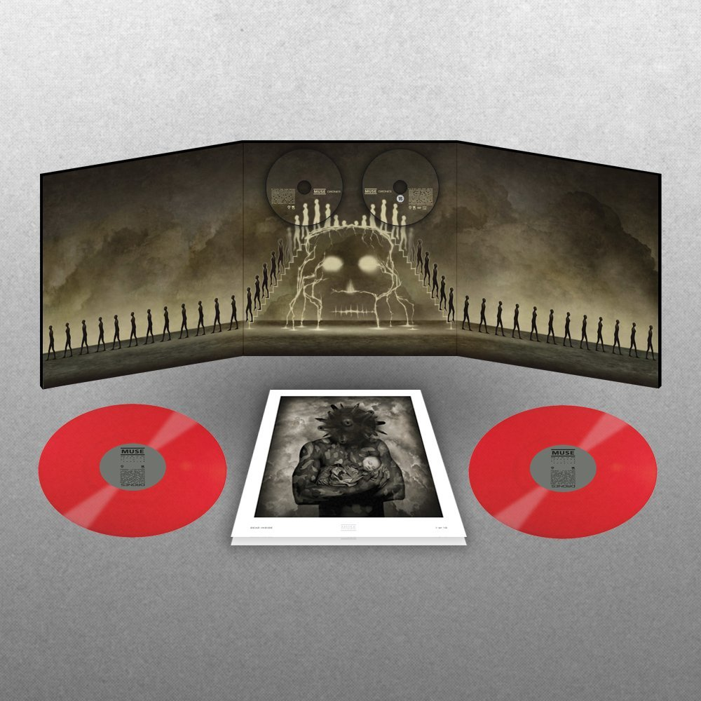 Muse Drones Limited Cd Dvd 2 Red Vinyl Lp Box Set